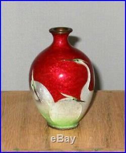 Wonderful Meiji Period Japanese Ginbari Cloisonne Enamel Vase with Egrets-Signed