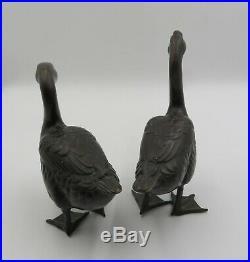 Wonderful Pair Of Antique Japanese Meiji Period Bronze Duck Statues